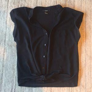 Forever21 black tie waist button up shirt